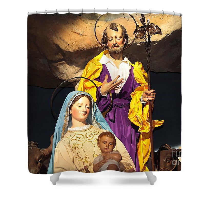 Baby Shower Curtain featuring the photograph Christmas Nativity Scene by Stefano Senise