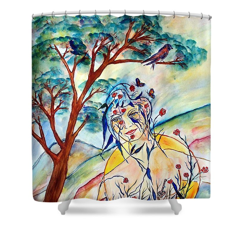 Female Shower Curtain featuring the painting Natura by Robin Monroe
