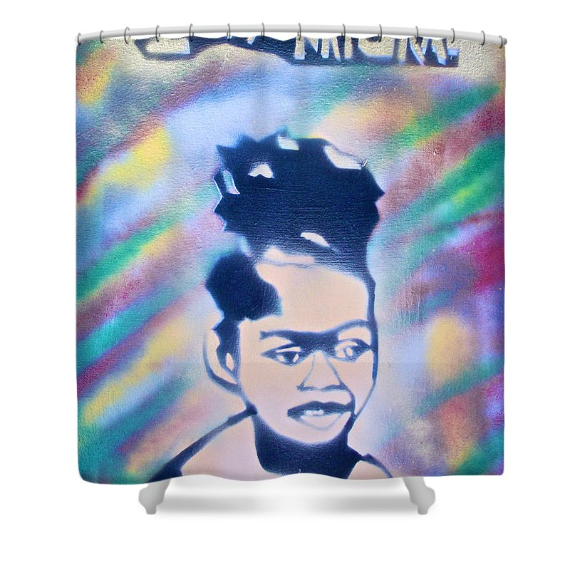 Black Shower Curtain featuring the painting Natural Princess by Tony B Conscious