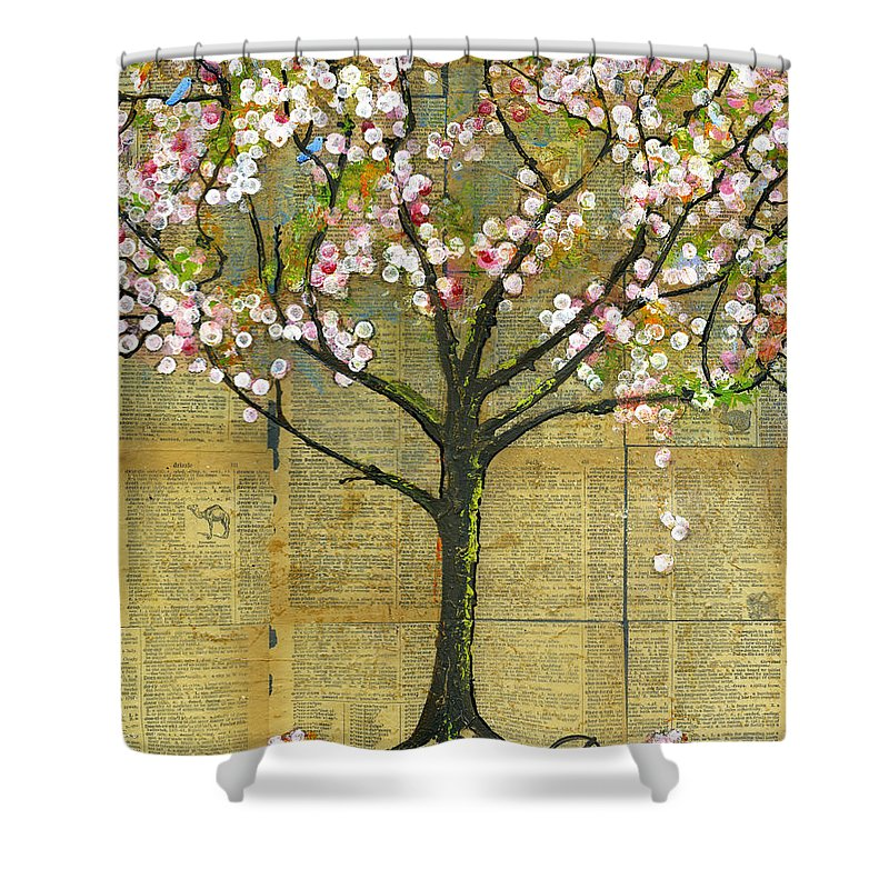 Artwork Shower Curtain featuring the painting Nature Art Landscape - Lexicon Tree by Blenda Studio