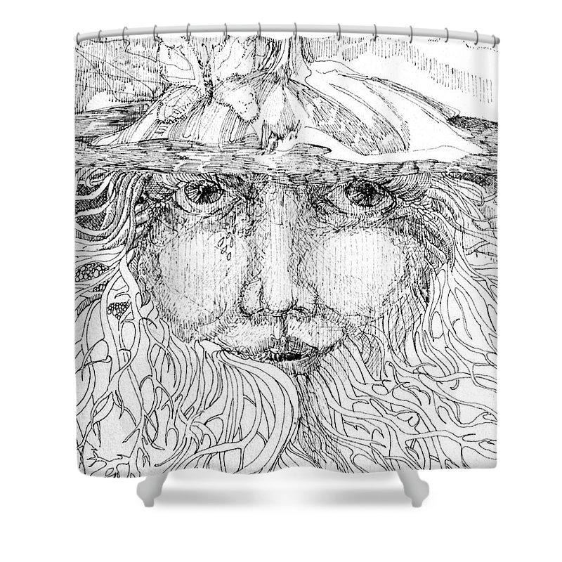 Drawing Shower Curtain featuring the drawing Nature Girl by Lizi Beard-Ward