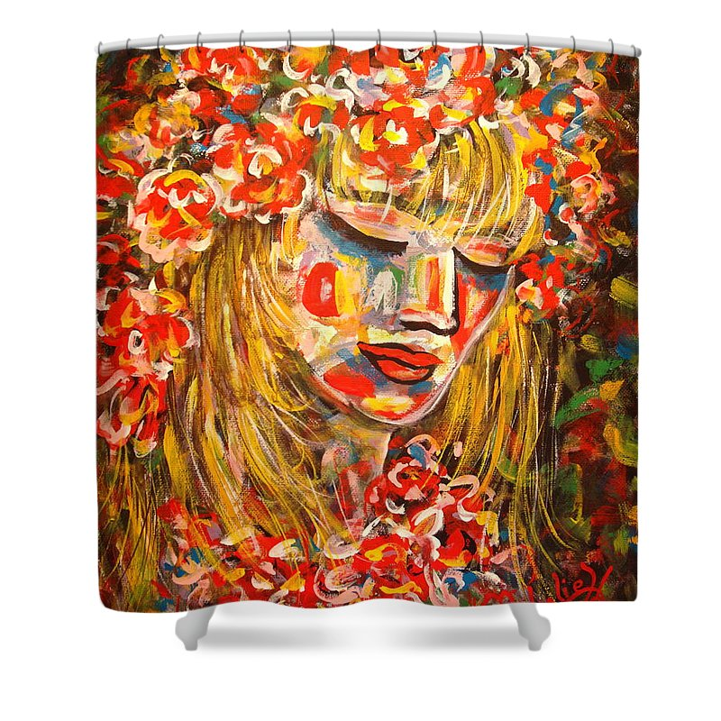 Girl Shower Curtain featuring the painting Nature Girl by Natalie Holland