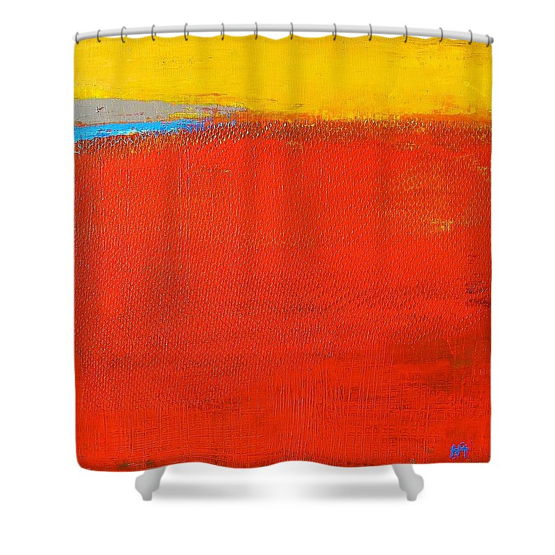 Landscape Shower Curtain featuring the painting Nature Rouge by Habib Ayat