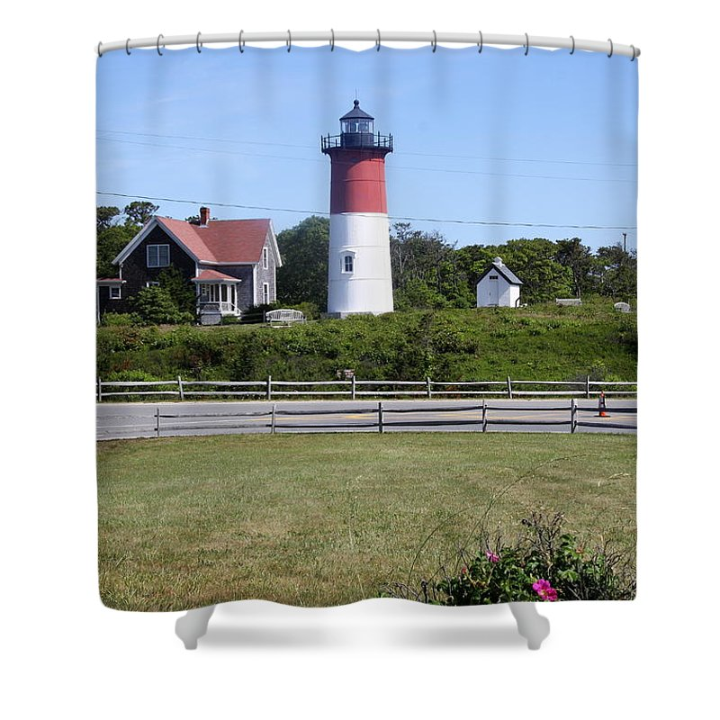 Nauset Light Shower Curtain featuring the photograph Nauset Light - Chatham by Christiane Schulze Art And Photography