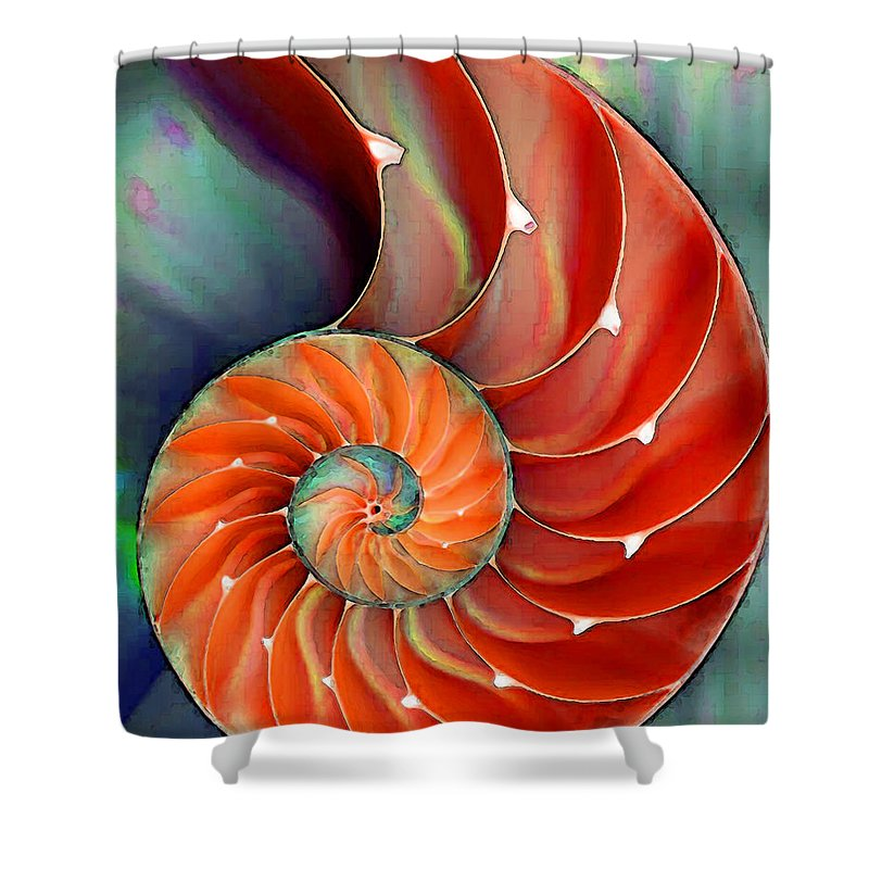 Nautilus Shower Curtain featuring the painting Nautilus Shell - Nature's Perfection by Sharon Cummings