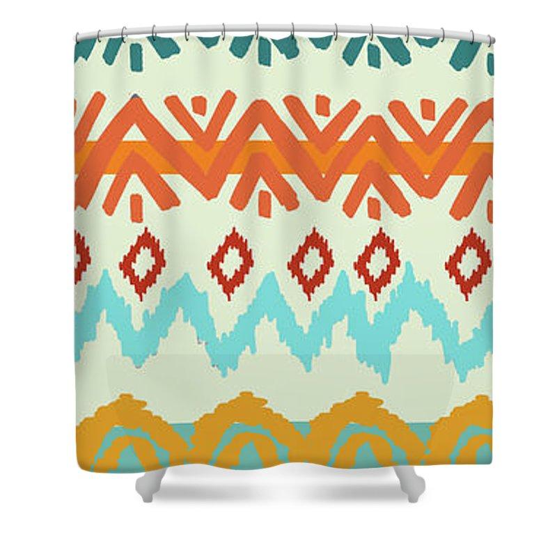 Navajo Shower Curtain Featuring The Digital Art Navajo Missoni I By  Nicholas Biscardi
