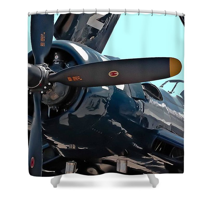 Propeller Shower Curtain featuring the photograph Navy Props by DigiArt Diaries by Vicky B Fuller