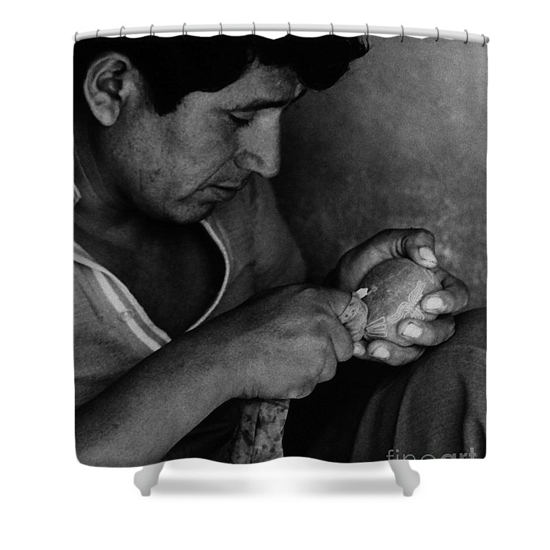 Stone Cutter Shower Curtain featuring the photograph Nazca Stone Cutter by J L Woody Wooden
