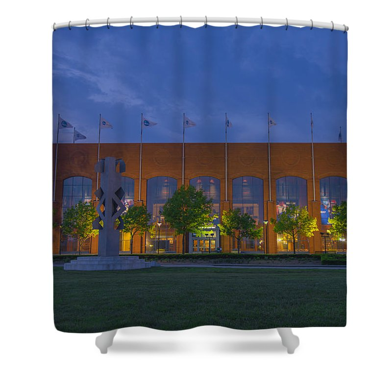 Indianapolis Shower Curtain featuring the photograph Ncaa Hall Of Champions Dusk by David Haskett II