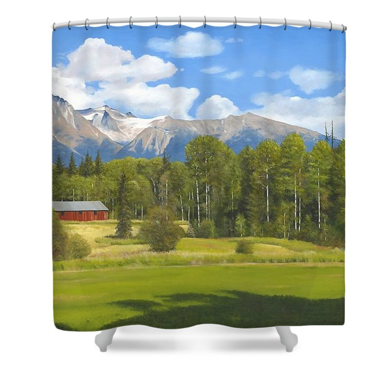 Landscape Shower Curtain featuring the painting Near Kispiox by James Robertson