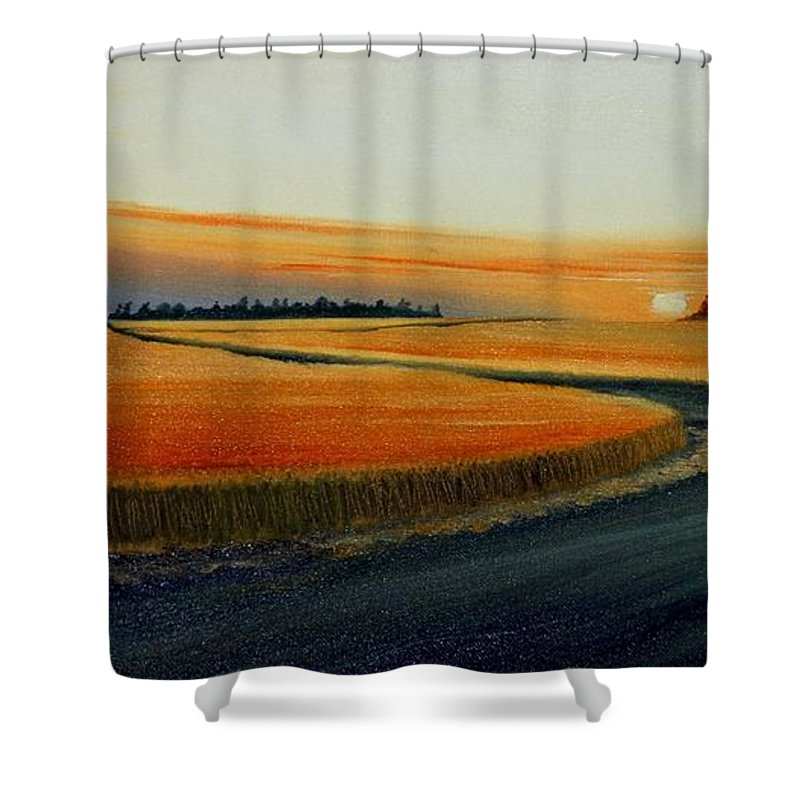 Wheat Shower Curtain featuring the painting Near Moscow by Leonard Heid