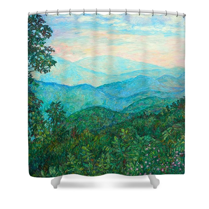 Landscape Shower Curtain featuring the painting Near Purgatory by Kendall Kessler