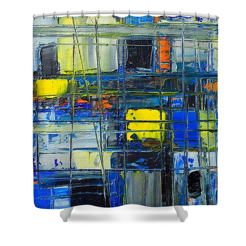 Abstract Shower Curtain featuring the painting Near The Sunrise - Abstract Original Painting - Abwgc1 by Ana Maria Edulescu