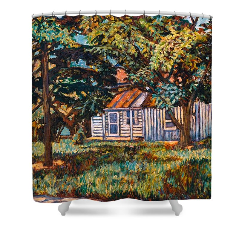Architecture Shower Curtain featuring the painting Near The Tech Duck Pond by Kendall Kessler