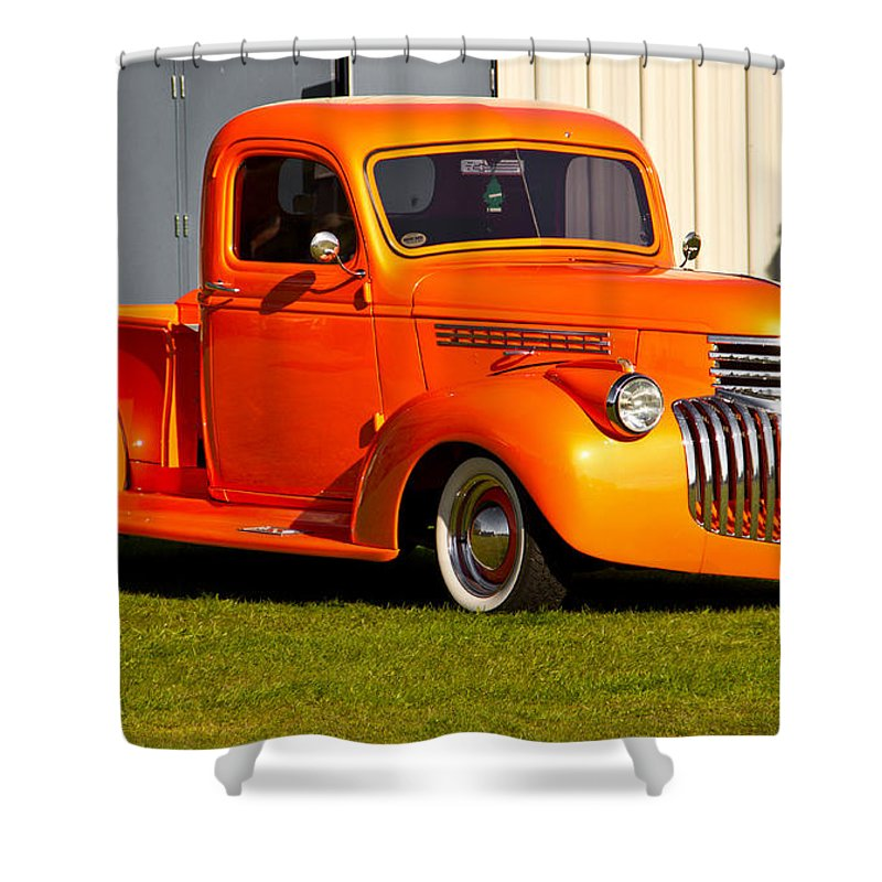 Retro Shower Curtain featuring the photograph Neat Vintage Chevrolet Truck In Bright Orange by Eti Reid