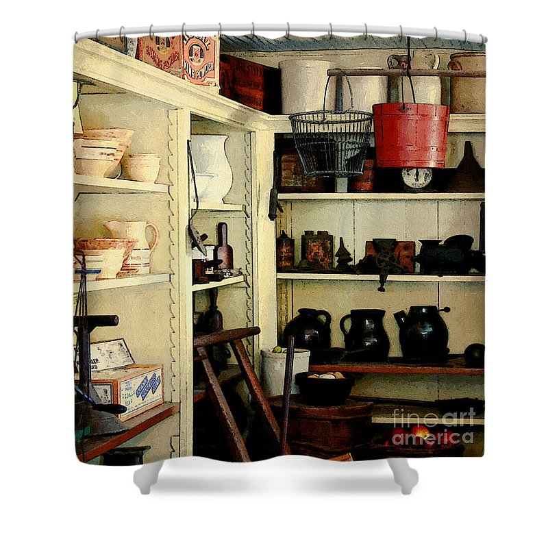 Antiques Shower Curtain featuring the painting Needful Things by RC deWinter