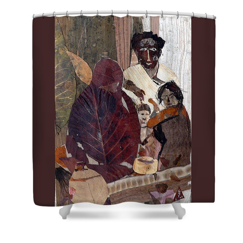 Group Portrait Shower Curtain featuring the mixed media Needy Family by Basant Soni