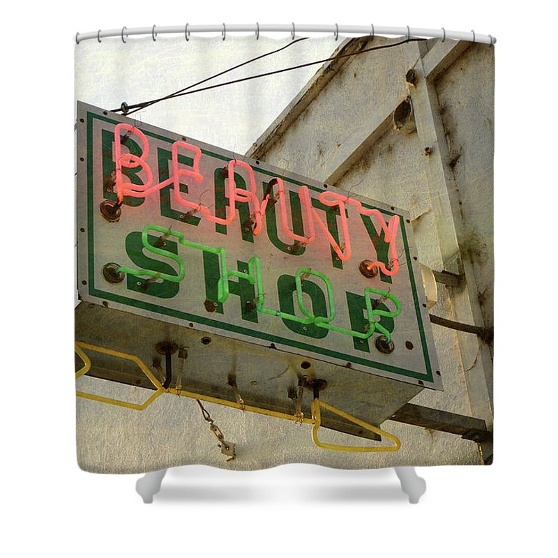 Pole Shower Curtain featuring the photograph Neon Beauty Shop Sign by Smodj