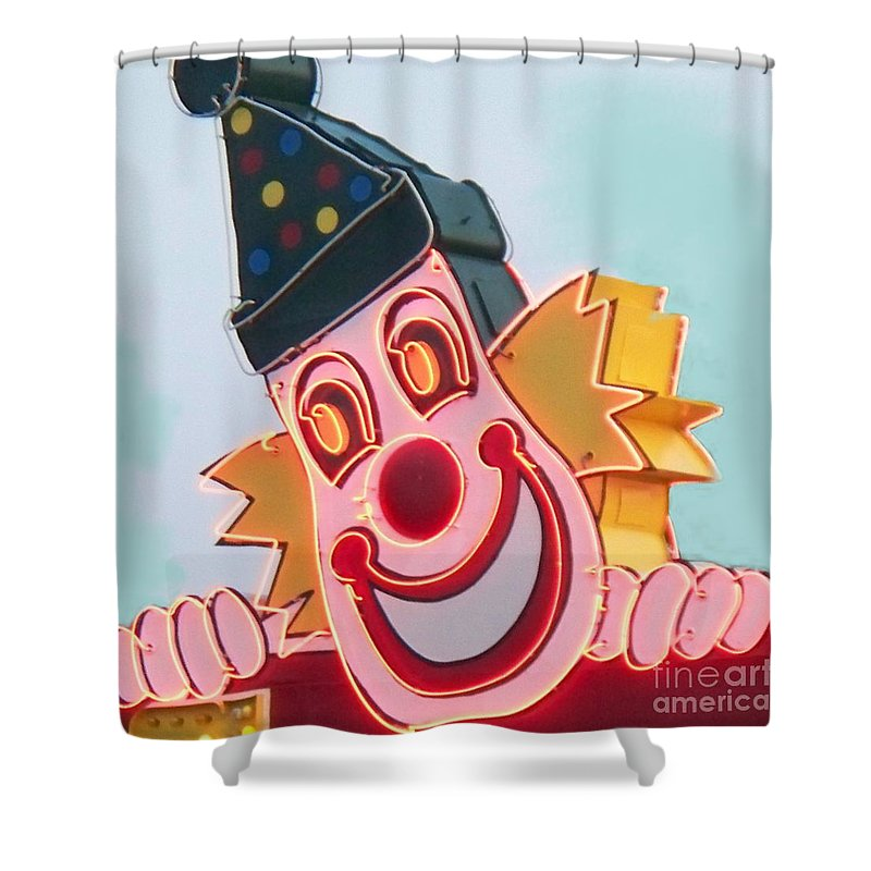 Neon Shower Curtain featuring the painting Neon Clown by Eric Schiabor