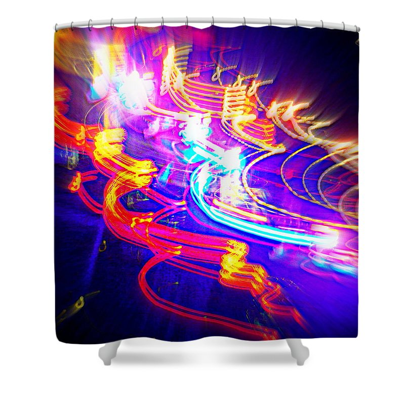 Abstract Shower Curtain featuring the digital art Neon Explosion by Barb Montanye Meseroll