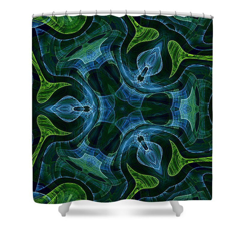 Neptune Neptunes Garden Water Plant Plants Nature Fractal Digital Painting Green Blue Ocean Sea Underwater Abstract Expressionism Impressionism Shower Curtain featuring the painting Neptunes Garden by Steve K