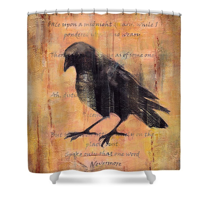 Raven Shower Curtain featuring the mixed media Nevermore II by Peggy Wilson