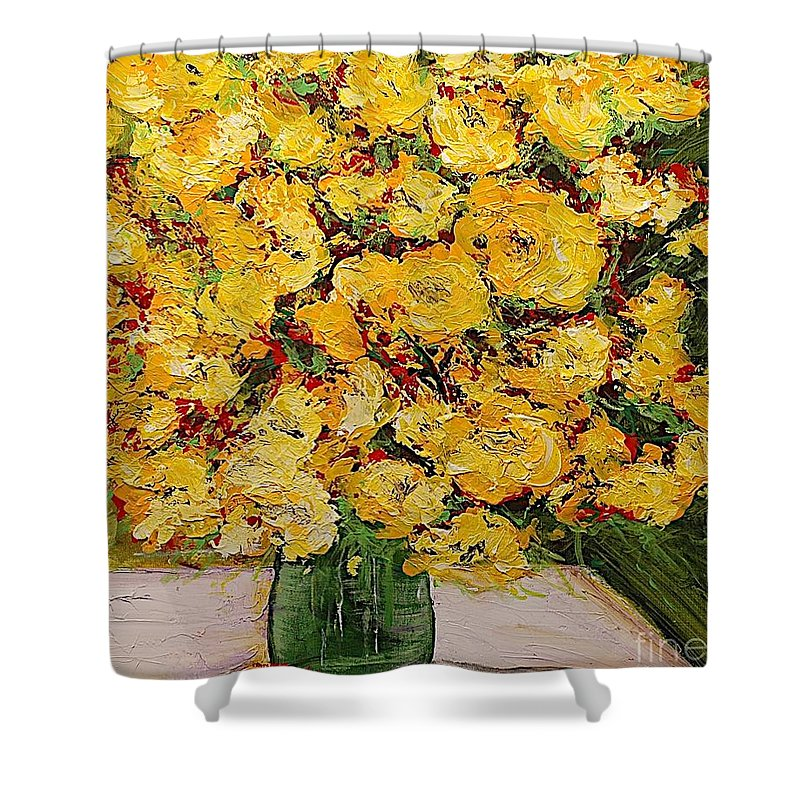Landscape Shower Curtain featuring the painting New Beginnings by Allan P Friedlander
