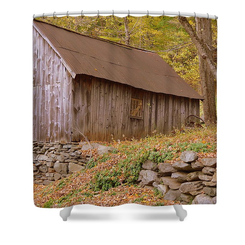 New England Barn Shower Curtain featuring the photograph New England Barn by Linda Covino