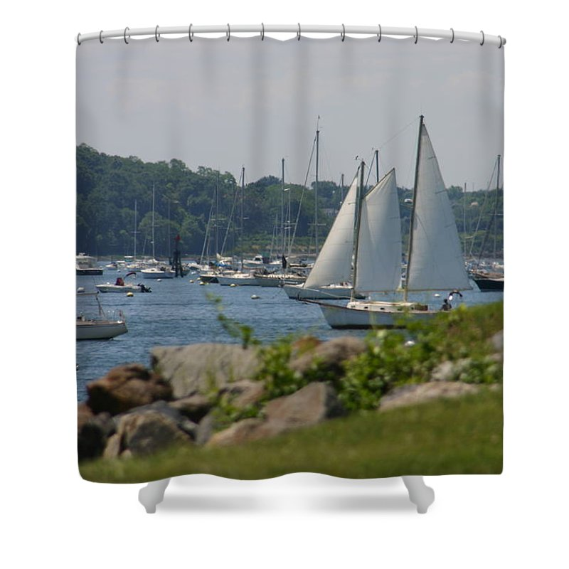 Boat Shower Curtain featuring the photograph New England Seascape by Denyse Duhaime