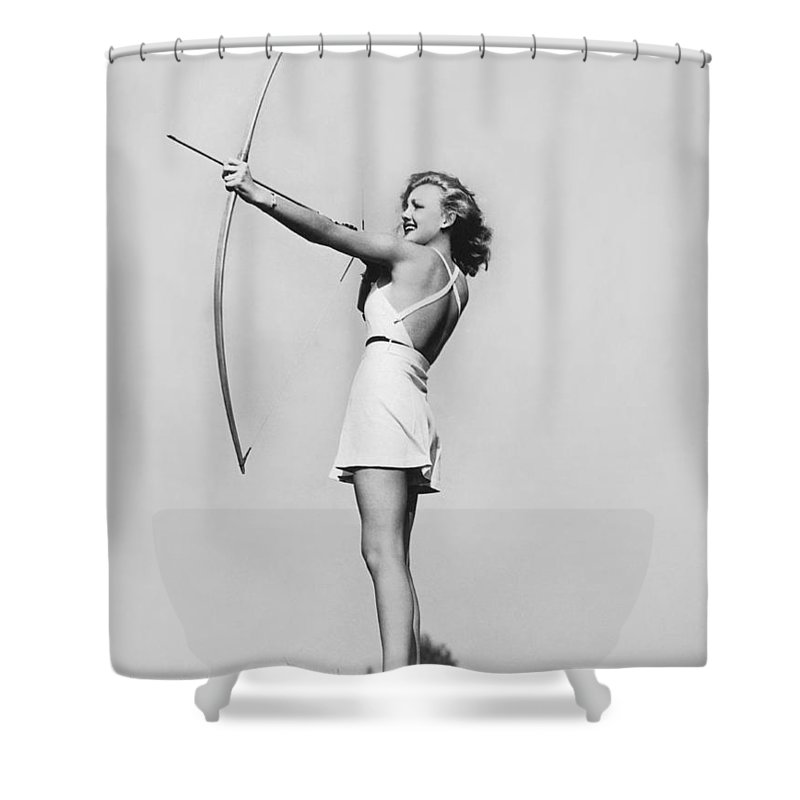 1 Person Shower Curtain featuring the photograph New Fad Archery Golf by Underwood Archives