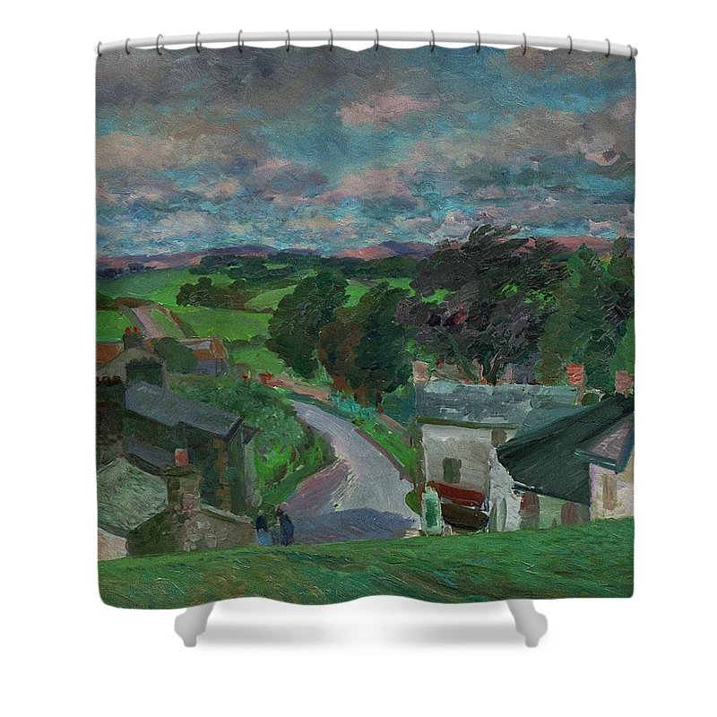 Cumbria; Cumbrian; Landscape; English; Village; Rural; Lake District Shower Curtain featuring the painting New Hutton Westmorland by Stephen Harris