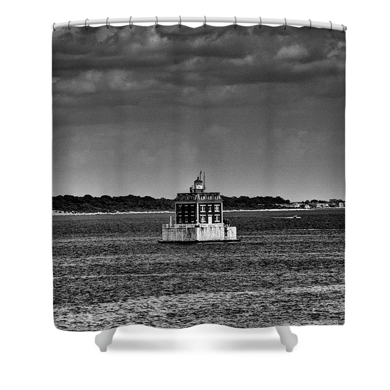Joshua House Photography Shower Curtain featuring the photograph New London Shelf Light Black And White by Joshua House