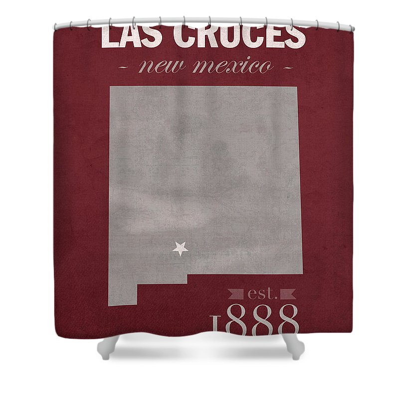 New Mexico State University Shower Curtain featuring the mixed media New Mexico State University Las Cruces Aggies College Town State Map Poster Series No 075 by Design Turnpike