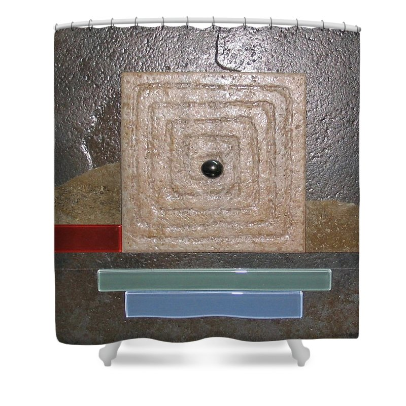 Assemblage Shower Curtain featuring the relief New Moon by Elaine Booth-Kallweit
