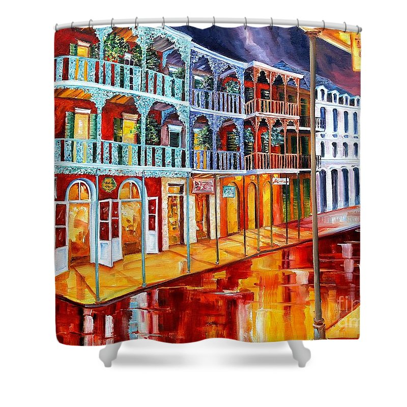 New Orleans Shower Curtain featuring the painting New Orleans Reflections In Red by Diane Millsap