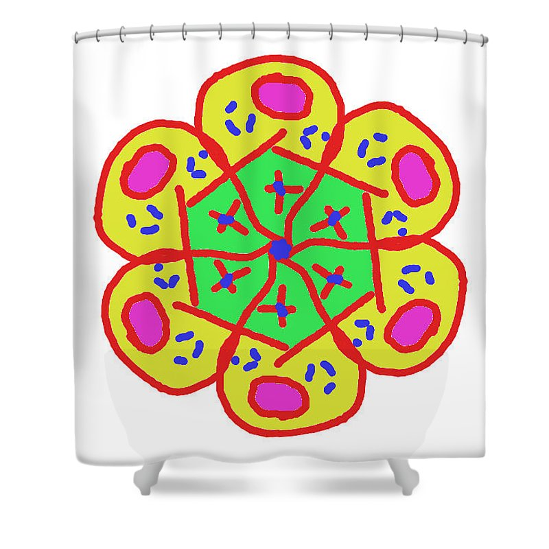 Flower Shower Curtain featuring the painting New Toy Flower by Bruce Nutting