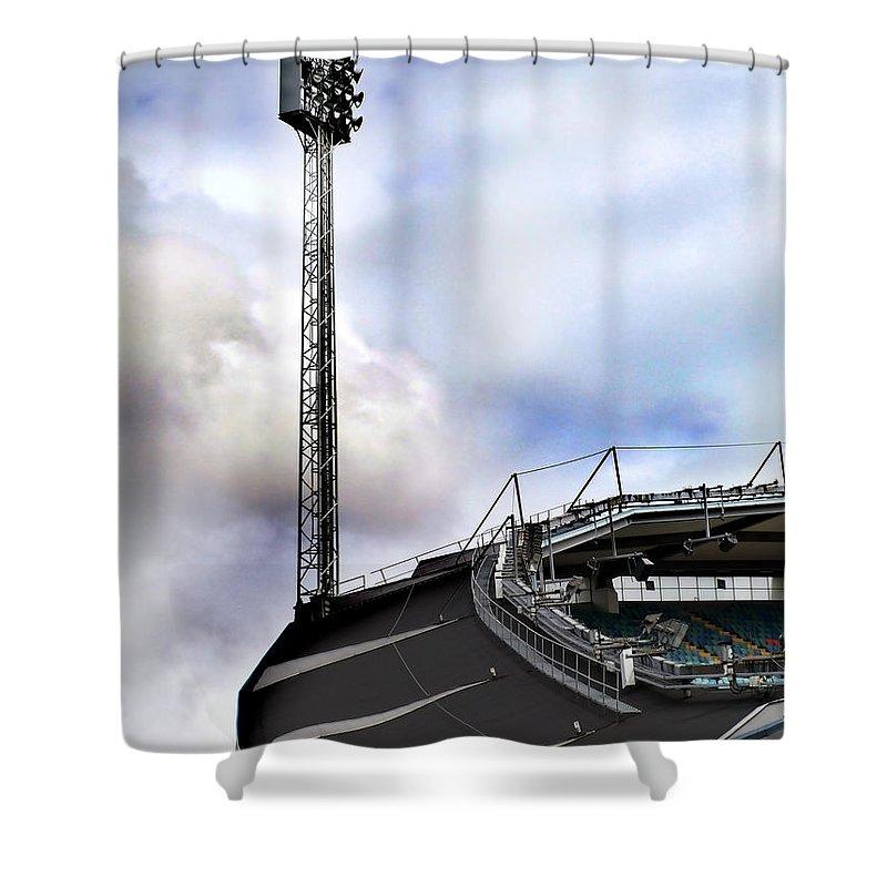 Array Shower Curtain featuring the photograph New Ullevi Stadium 05 by Antony McAulay