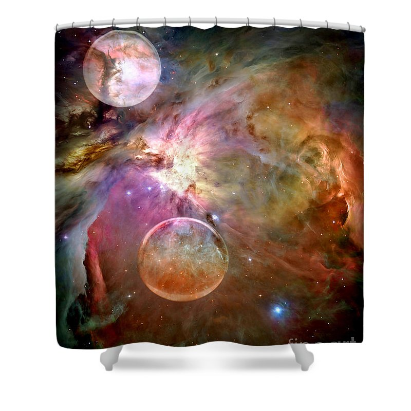 Space Shower Curtain featuring the photograph New Worlds by Jacky Gerritsen