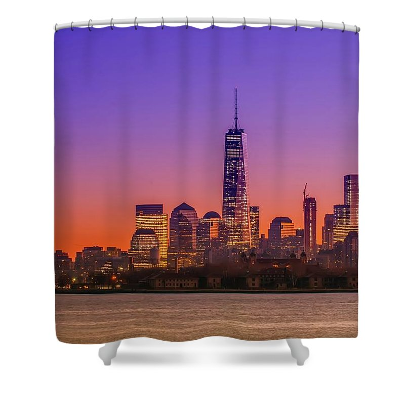 New Shower Curtain featuring the photograph New York City Manhattan Midtown Panorama At Dusk With Skyscraper by Alex Grichenko