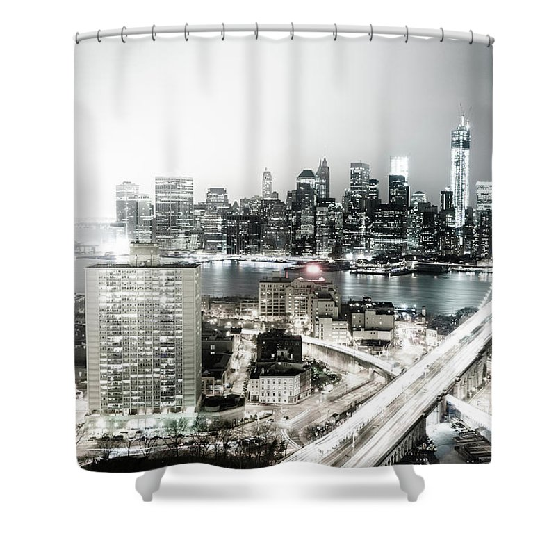 Lower Manhattan Shower Curtain featuring the photograph New York City Skyline At Night by Mundusimages