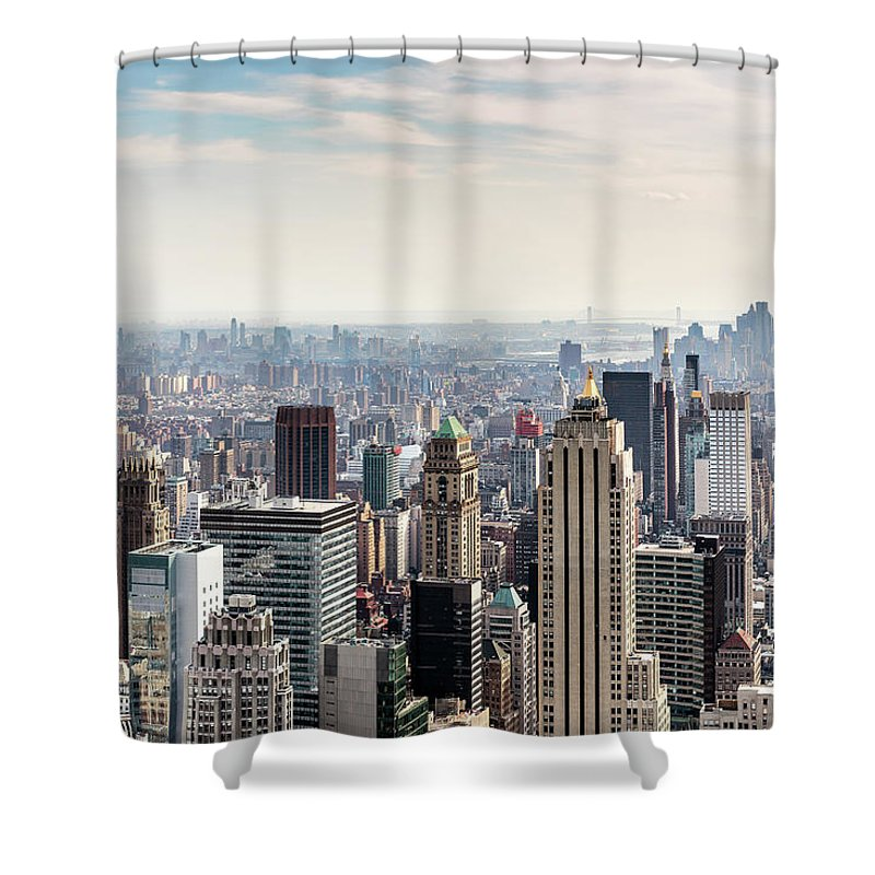 Scenics Shower Curtain featuring the photograph New York City Skyline by Denise Panyik-dale