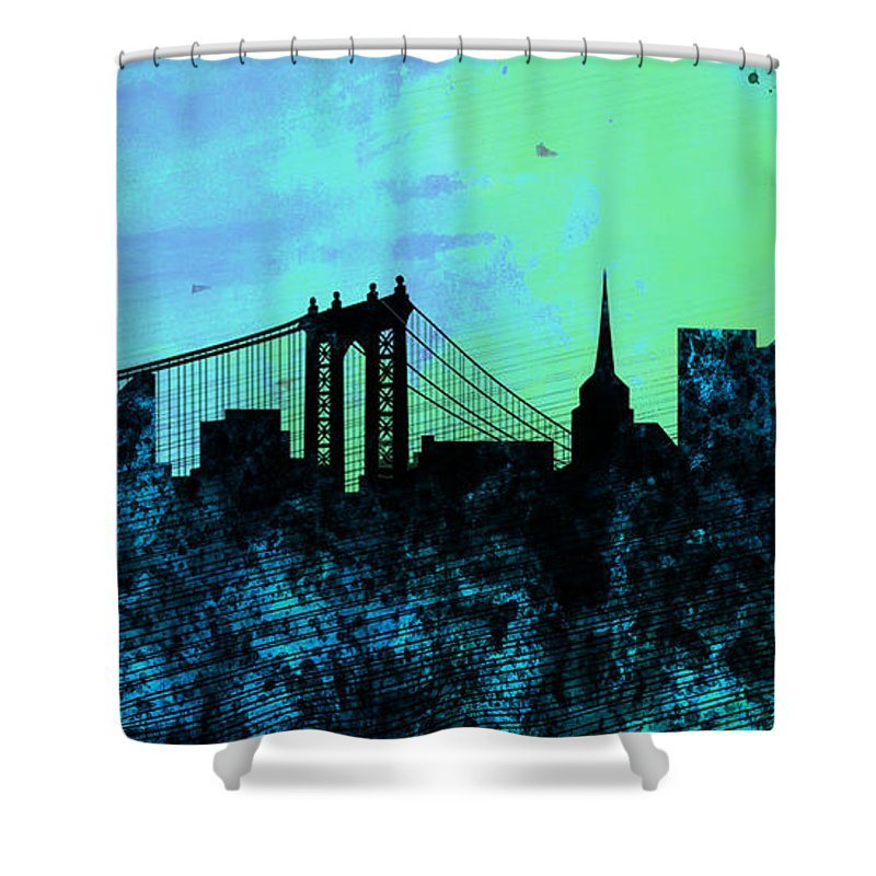 New York City Shower Curtain Featuring The Painting Skyline By Naxart Studio