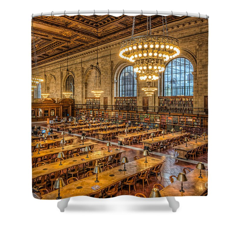 Clarence Holmes Shower Curtain featuring the photograph New York Public Library Main Reading Room Ix by Clarence Holmes