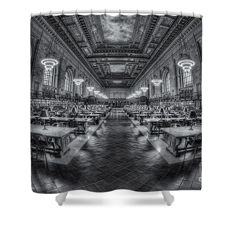 Clarence Holmesamerica Shower Curtain featuring the photograph New York Public Library Main Reading Room Viii by Clarence Holmes