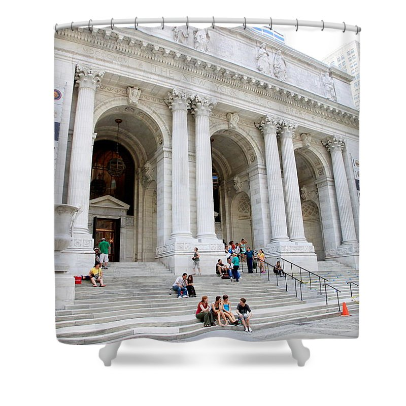 New Shower Curtain featuring the photograph New York Public Library by Valentino Visentini