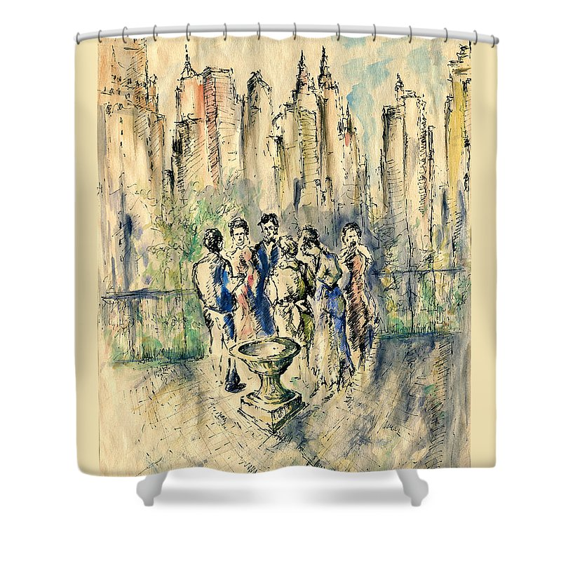 New+york Shower Curtain featuring the drawing New York Roof Party - Watercolor Ink by Peter Potter