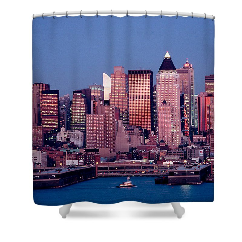 Nyc Shower Curtain featuring the photograph New York Skyline At Dusk by Anthony Sacco