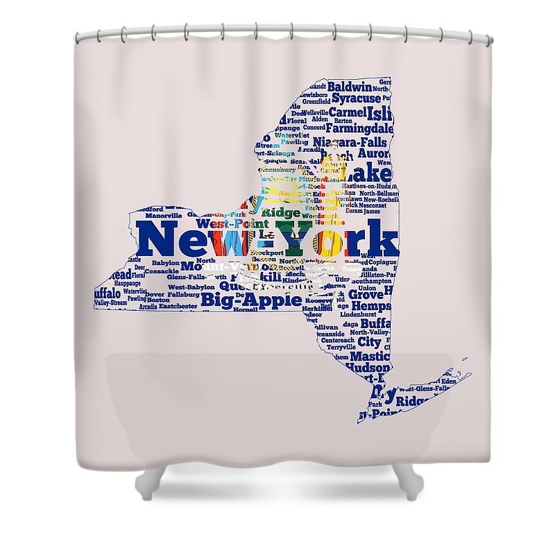 New York Shower Curtain Featuring The Digital Art State Flag Word Cloud By Brian