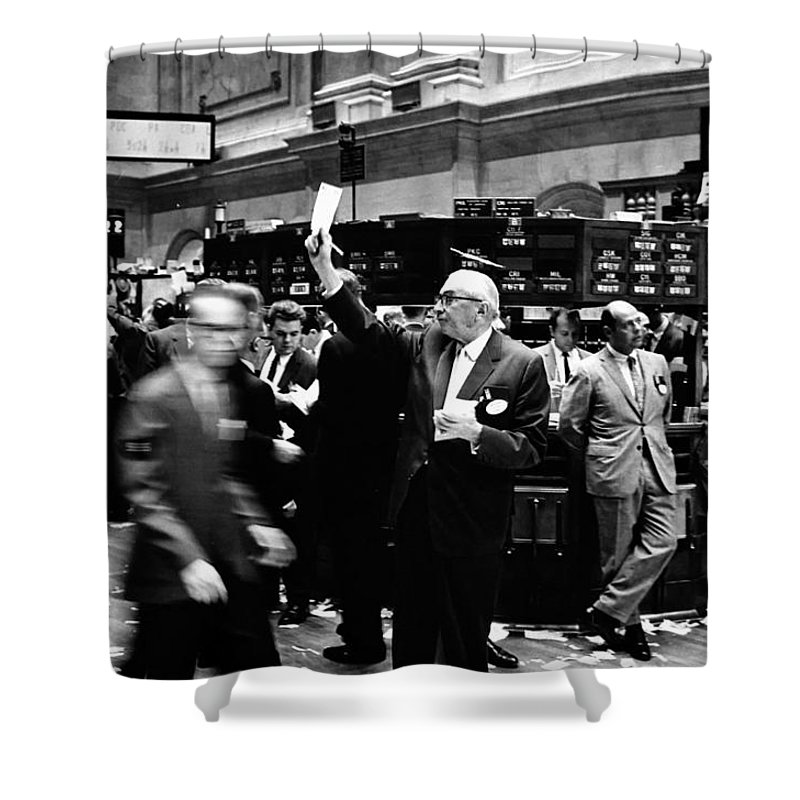 1963 Shower Curtain featuring the photograph New York Stock Exchange 1963 by Mountain Dreams