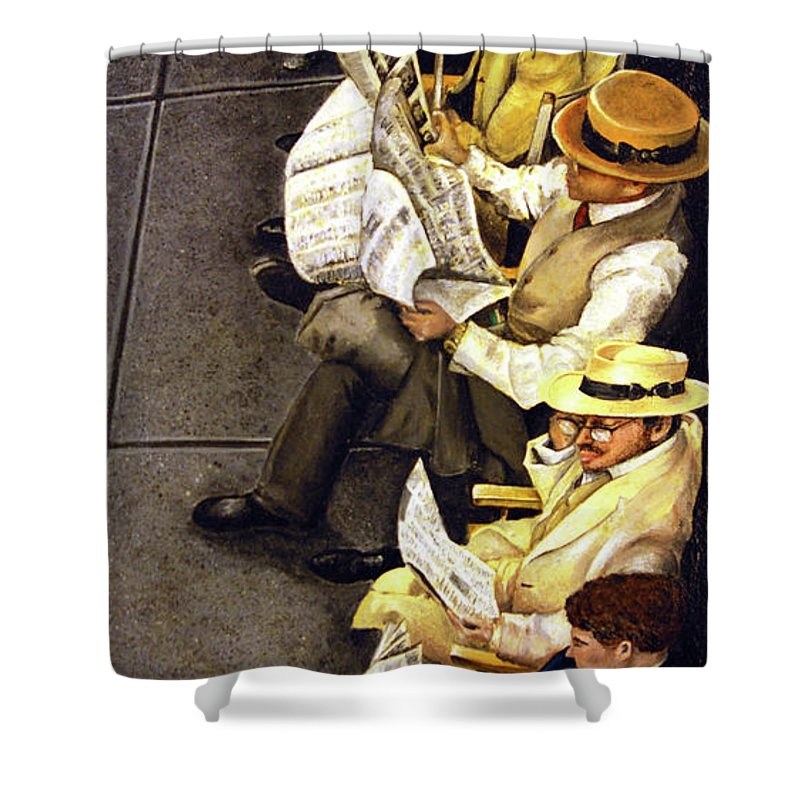 Newspaper Shower Curtain featuring the painting New York Times by Linda Simon